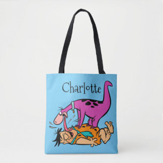 Dino Licking Fred Flintstone Tote Bag