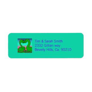 Dino Love Baby Shower Return Address Label