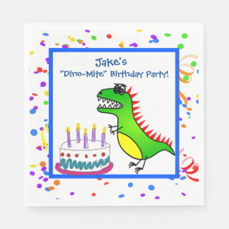 Dino-Mite Time Dinosaur and Cake Birthday Party Disposable Serviette