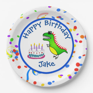 Dino-Mite Time Dinosaur and Cake Birthday Party Paper Plate