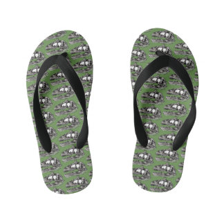 DINO - Moss Green Custom Flip Flops, Kids Kid's Thongs