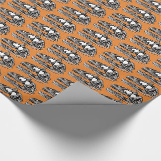 "DINO - Orange Glossy Wrapping Paper, 30"" x 6' Wrapping Paper"