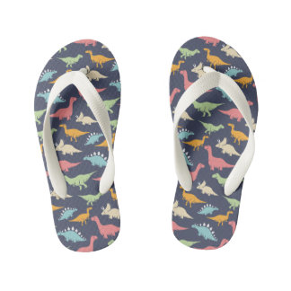 DINO PATTERN Flip Flops, Kids Kid's Thongs