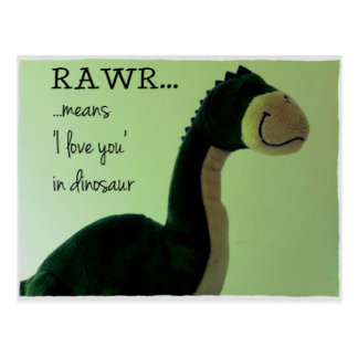 Dino Postcard Rawr means 'I love you in dinosaur'