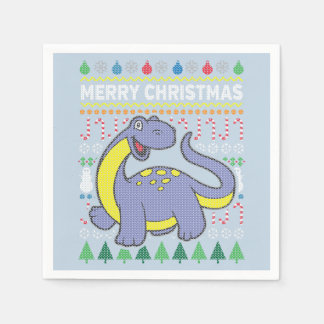 Dino Purple Ugly Christmas Sweater Wildlife Series Disposable Napkins