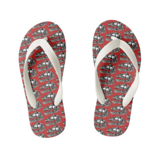 DINO - Red Custom Flip Flops, Kids Kid's Thongs