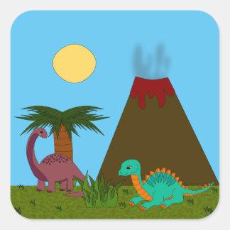 Dino Style Square Sticker