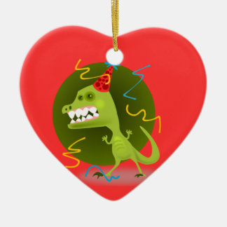 Dino's Rock - Dinosaur Birthday Party Ceramic Heart Decoration