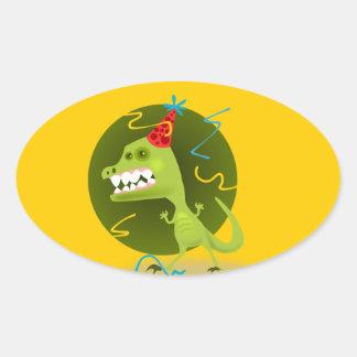 Dino's Rock - Dinosaur Birthday Party Oval Sticker