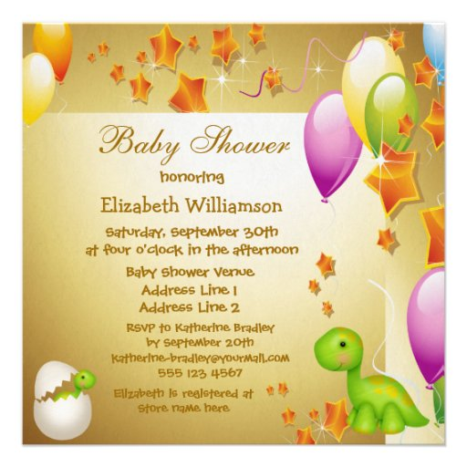 Dinosaur & Balloons Elegant Gold Baby Shower Announcement