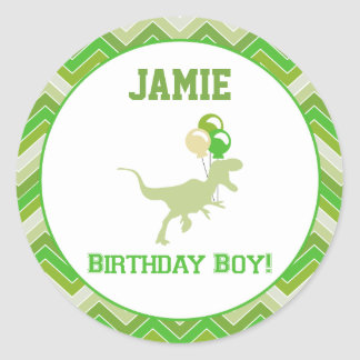 Dinosaur Birthday Cupcake Toppers/Stickers Classic Round Sticker