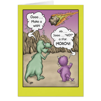 Dinosaur Birthday Humour, Wish upon a star Greeting Card
