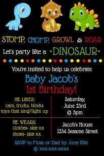 Baby Dinosaur Birthday Invitations