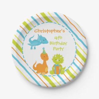Dinosaur Birthday Party Dino Personalised Plate 7 Inch Paper Plate
