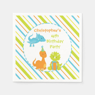 Dinosaur Birthday Party Dino Personalized Napkin Disposable Serviette