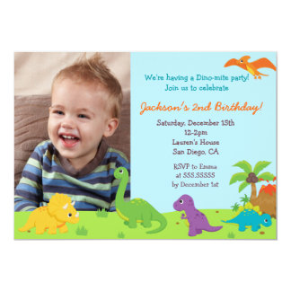 Dinosaur Birthday Party Invitaions Card