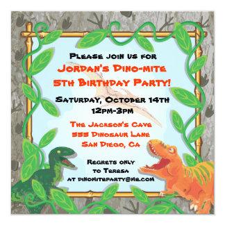 "Dinosaur Birthday Party Invitation 5.25"" Square Invitation Card"