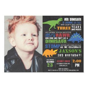 Dinosaur Birthday Photo Chalkboard Rawr Roar Boy Invitation