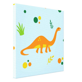Dinosaur Blue Green Orange Wall Art Canvas