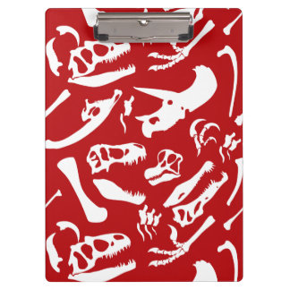 Dinosaur Bones (Red) Clipboard