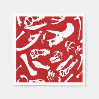 Dinosaur Bones (Red) Disposable Serviette