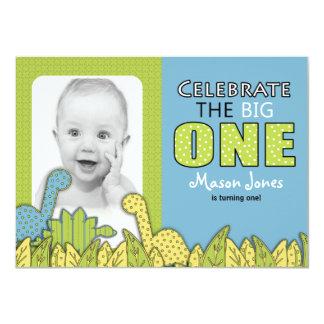 Dinosaur Boy First Birthday Party Card