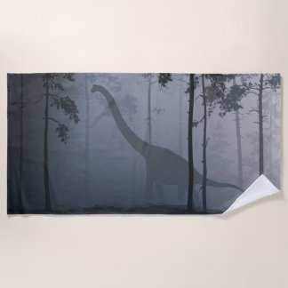Dinosaur by Moonlight Beach Towel