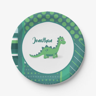 Dinosaur cartoon kids paper plate. paper plate
