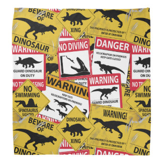 Dinosaur Caution Signs Bandana