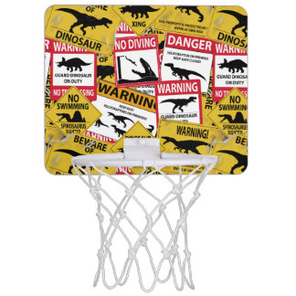 Dinosaur Caution Signs Mini Basketball Hoop