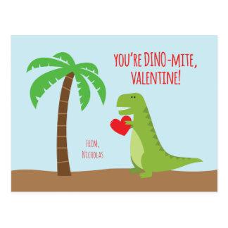 Dinosaur Class Valentines - T-Rex Postcard