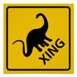 Dinosaur Crossing Highway Sign Print