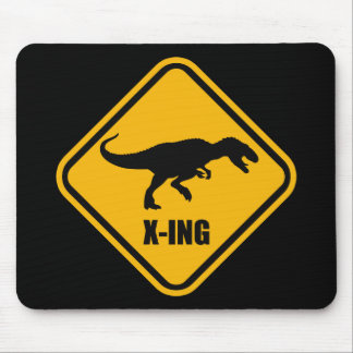 Dinosaur Crossing Street Sign T Rex Mouse Pad