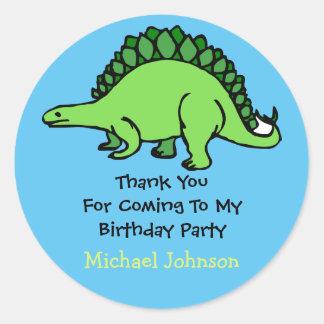 Dinosaur Custom Boy Name Birthday Thank You Favor Round Sticker