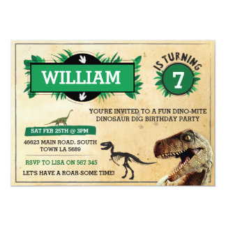 Dinosaur Dig Birthday Party Invitation TRex Invite