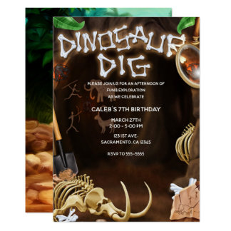 DINOSAUR DIG Bones Mystery Cave Birthday Party Card