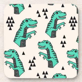 Dinosaur Dino Green T-Rex Boy / Andrea Lauren Drink Coaster