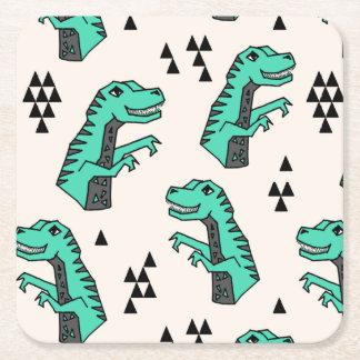 Dinosaur Dino Green T-Rex Boy / Andrea Lauren Square Paper Coaster
