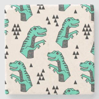 Dinosaur Dino Green T-Rex Boy / Andrea Lauren Stone Coaster