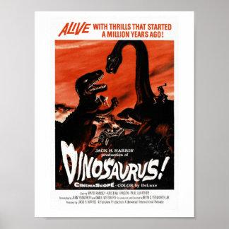 Dinosaur, Dino, Saurus Vintage Retro Cinema Poster