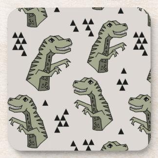 Dinosaur Dino T-Rex Green Grey Boy / Andrea Lauren Drink Coaster