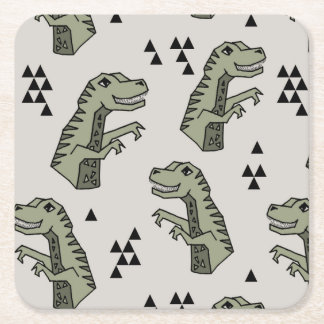 Dinosaur Dino T-Rex Green Grey Boy / Andrea Lauren Square Paper Coaster