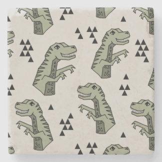 Dinosaur Dino T-Rex Green Grey Boy / Andrea Lauren Stone Beverage Coaster