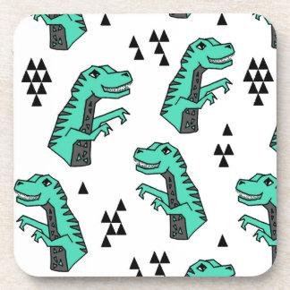 Dinosaur Dino T-Rex Green Tri Boy / Andrea Lauren Drink Coaster