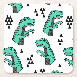 Dinosaur Dino T-Rex Green Tri Boy / Andrea Lauren Square Paper Coaster