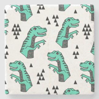 Dinosaur Dino T-Rex Green Tri Boy / Andrea Lauren Stone Beverage Coaster