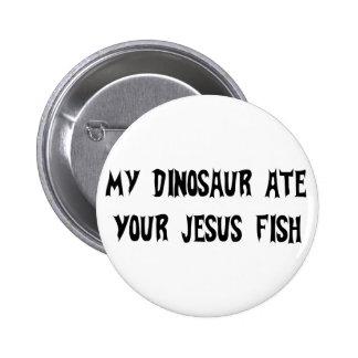 Dinosaur Eats Jesus Fish 6 Cm Round Badge