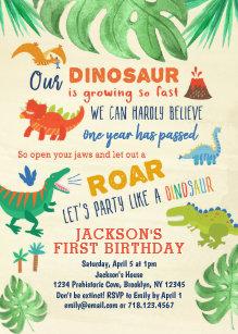 Dinosaur First Birthday Invitations Party