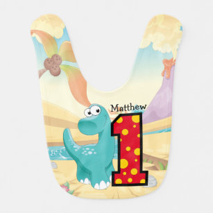 Dinosaur First Birthday Party Custom Bib
