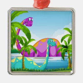 Dinosaur having fun in the lake metal ornament